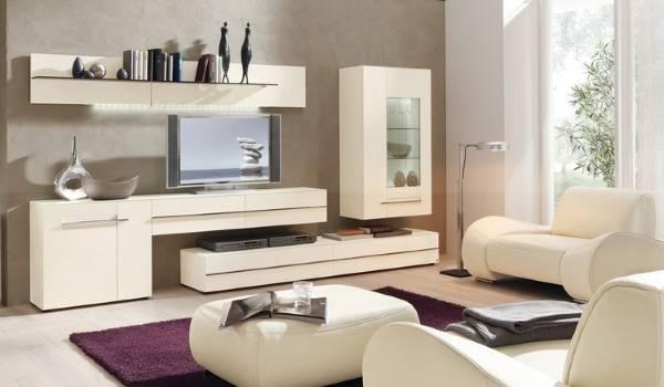 Модульная белая мебель для гостиной в современном стиле