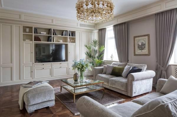 Шикарная белая стенка в дизайне гостиной