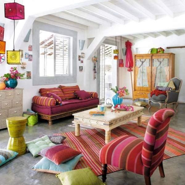 Стиль бохо шик в интерьере гостиной - 10 идей оформления