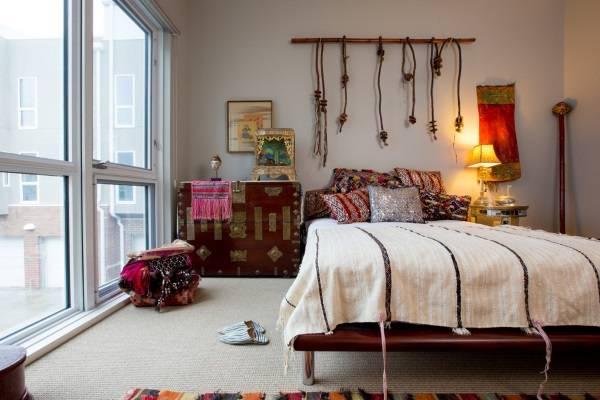 Богемный стиль в интерьере спальни в квартире