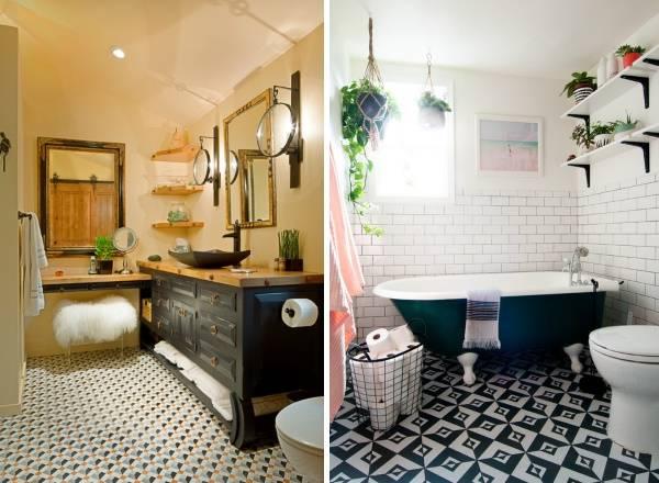 Cтиль бохо в интерьере ванной комнаты