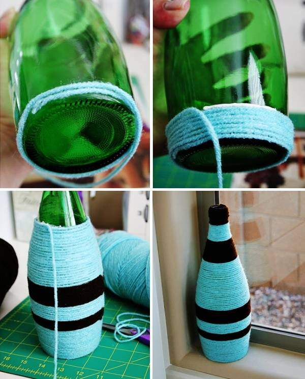 Ваза и стеклянной бутылки и ниток