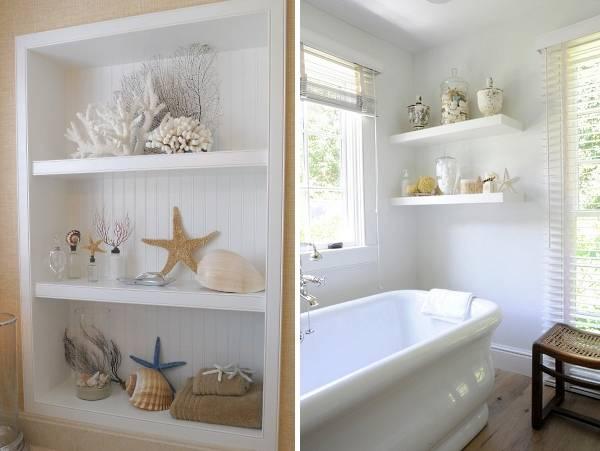 Декорирование ванной комнаты с ракушками