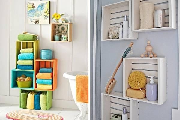 Декор ванной комнаты своими руками - полки из ящиков
