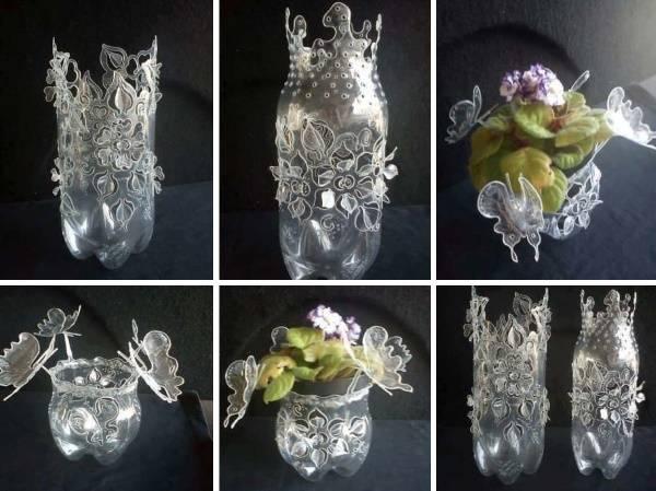 Декоративная ваза из пластиковой бутылки своими руками