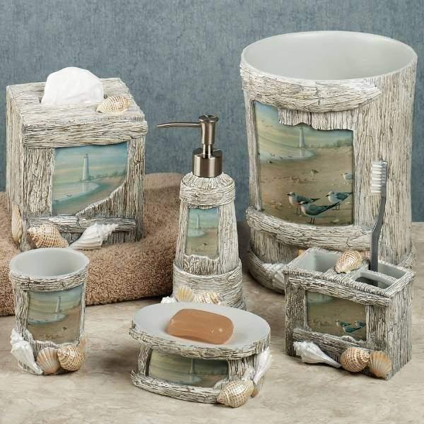 Аксессуары и декор в ванной комнате - фото с ракушками