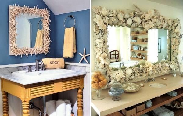Декор ванной своими руками - украшение зеркала ракушками