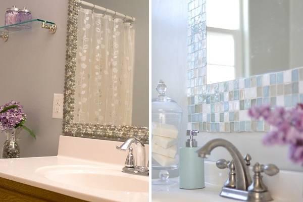 Как украсить стены в ванной - декор зеркала мозаикой