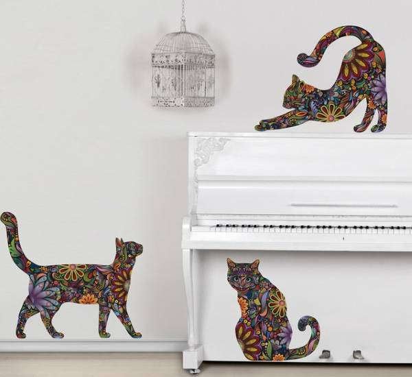 Наклейки для декора стен - котята