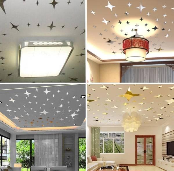 Зеркальные звёзды - наклейки на потолок