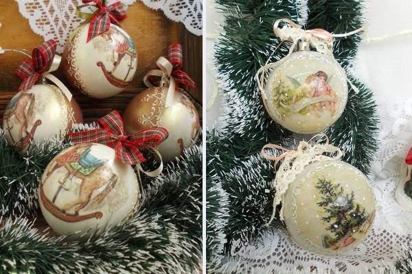 Елочные новогодние шары - декупаж на фото