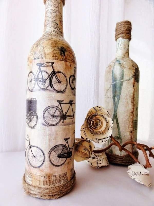 Декупаж вазы из стеклянных бутылок своими руками