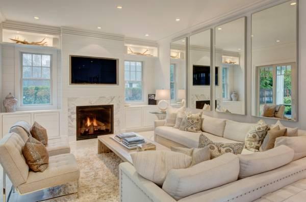 Белая мебель для гостиной - фото элегантного интерьера