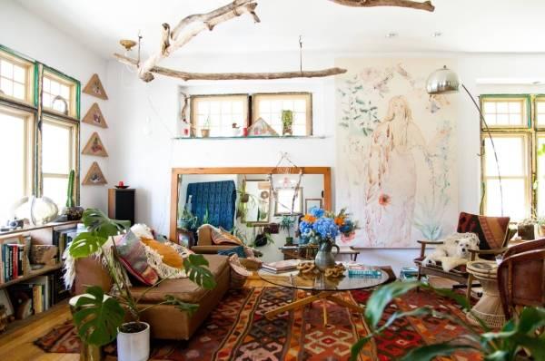 Дизайн гостиной в стиле бохо шик в интерьере