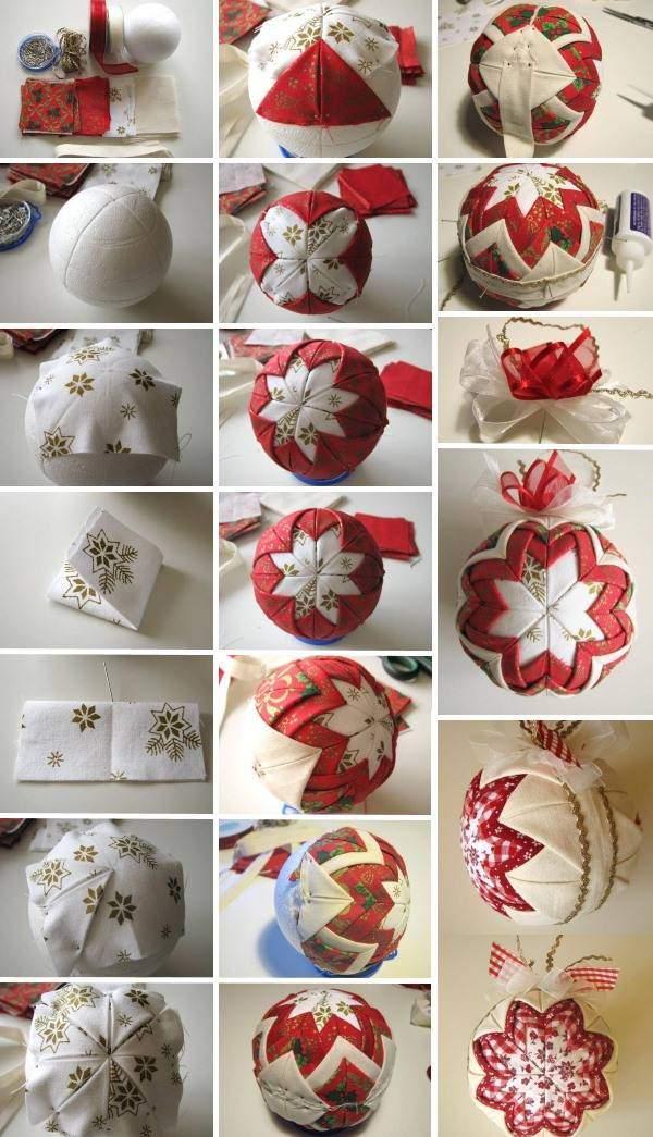 Как сделать новогодний шар своими руками из ткани и лент