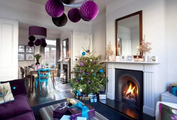 Голубой и фиолетовый декор на Новый год