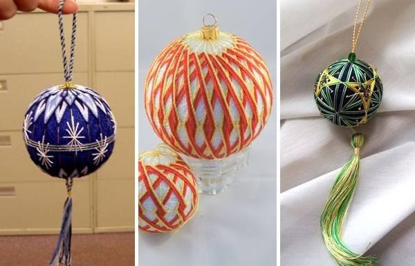 Темари - новогодний шар на елку своими руками