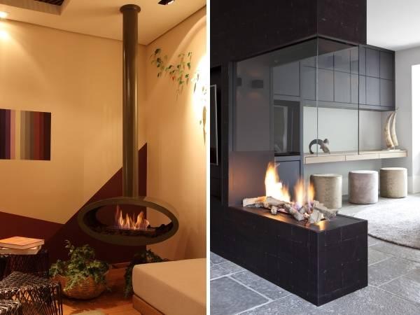 Газовый камин в квартире - фото дизайн интерьера