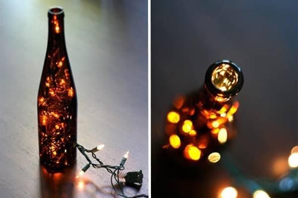 Светодиодная led гирлянда в декоре из винной бутылки