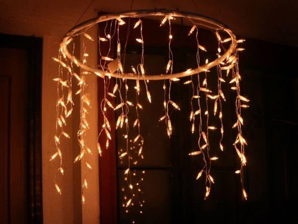 Гирлянда бахрома светодиодная в декоре потолка
