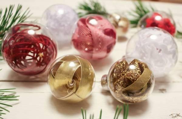 Новогодние шары с гирляндами своими руками
