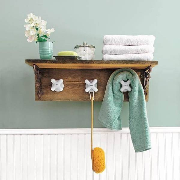 Креативный декор в ванной комнате - фото вешалки для полотенец