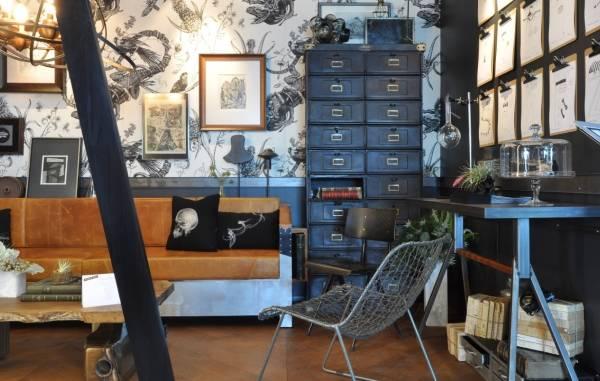 Интерьер гостиной в стиле стимпанк - фото декора