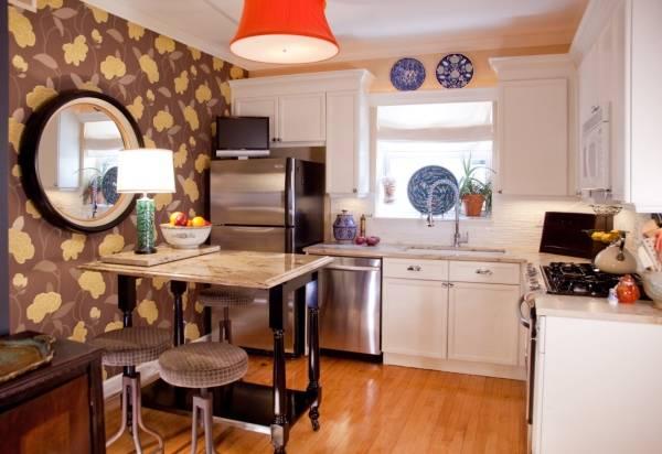Стиль бохо шик в интерьере кухни с обоями