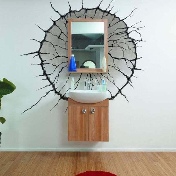 3D наклейки на стену - фото в интерьере