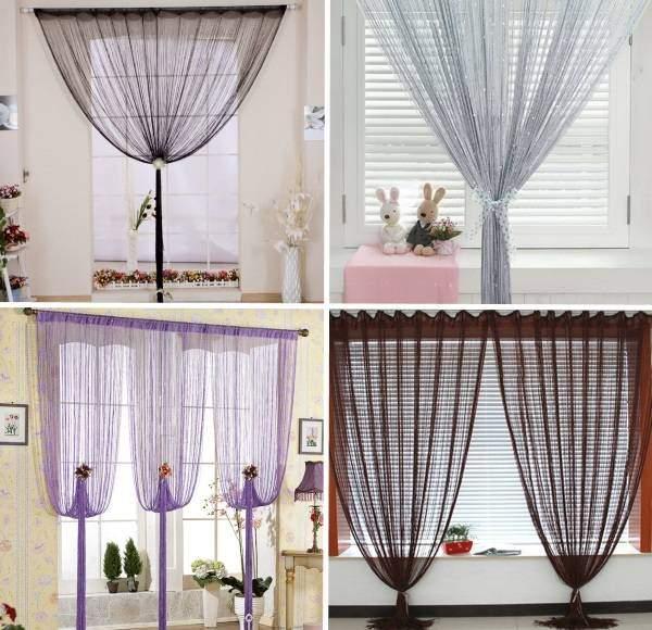 Как красиво повесить шторы нити - разные варианты на фото