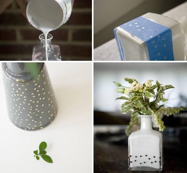 Как украсить вазк из стеклянной бутылки своими руками - фото