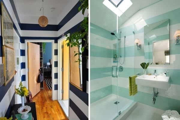 Как визуально расширить комнату с горизонтальными полосами