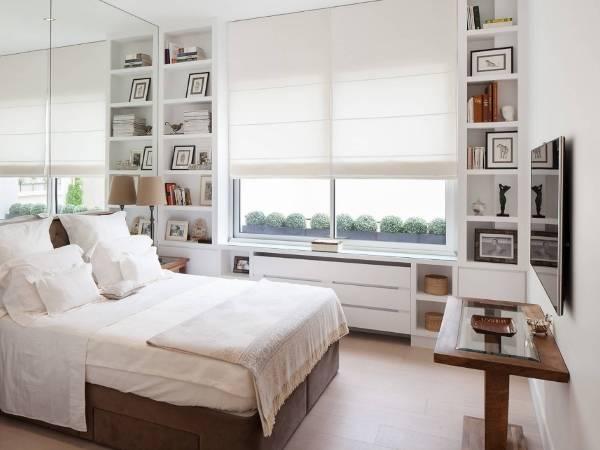 Как зрительно увеличить комнату - фото спальни с зеркалом