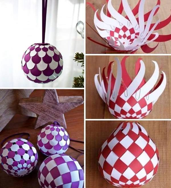 Оригинальные новогодний шар на елку - своими руками из бумаги