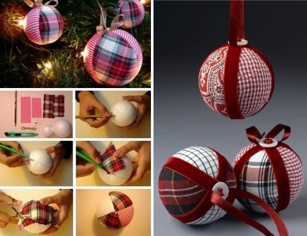 Стильная поделка - новогодний шар из ткани и лент
