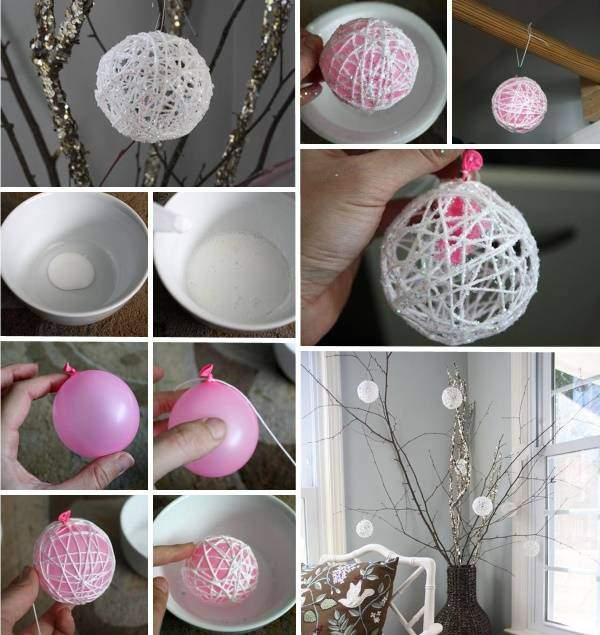 Как сделать новогодний шар из ниток и клея