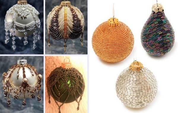 Как украсить бисером новогодний шар на елку своими руками