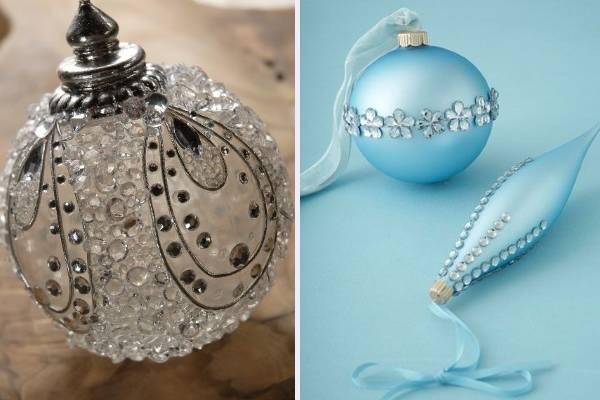 Красивые новогодние шары своими руками на 2017 год со стразами