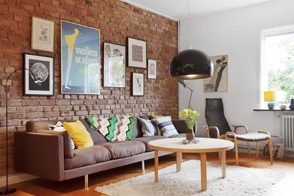 Как сделать кирпичную стену в интерьере - фото