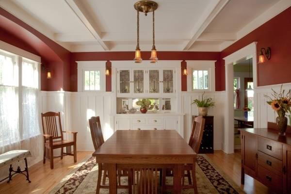 Какие цвета сочетаются с коричневым в интерьере - белый и красный