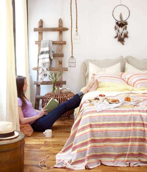 Богемный стиль в интерьере современной спальни