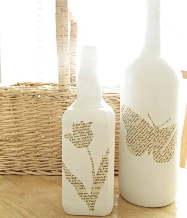 Покраска и декупаж вазы из стеклянной бутылки