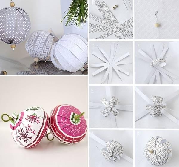 Красивые елочные шары из бумаги своими руками