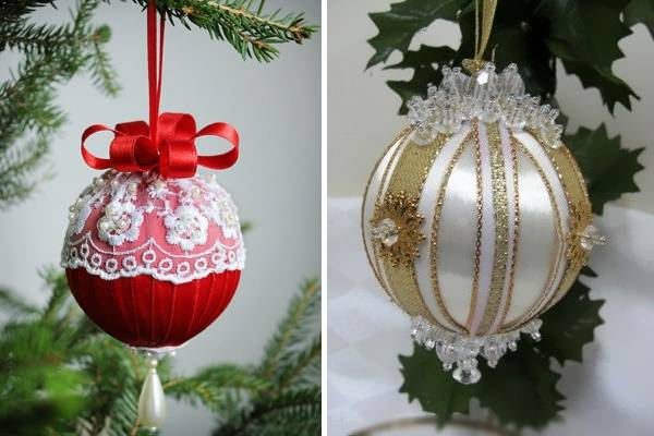 Новогодние шары из лент своими руками - фото на ёлке
