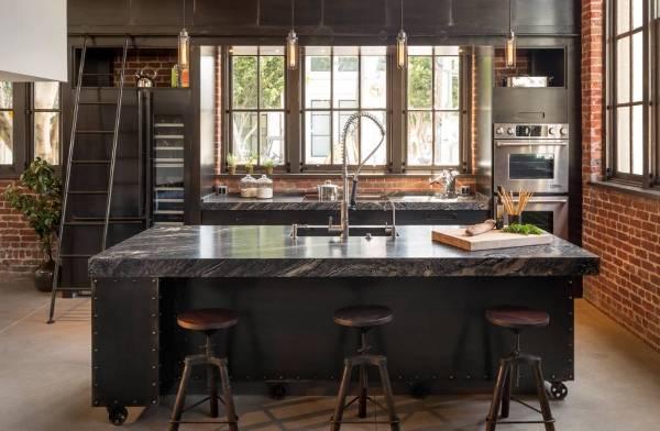 Стиль стимпанк - фото в интерьере кухни