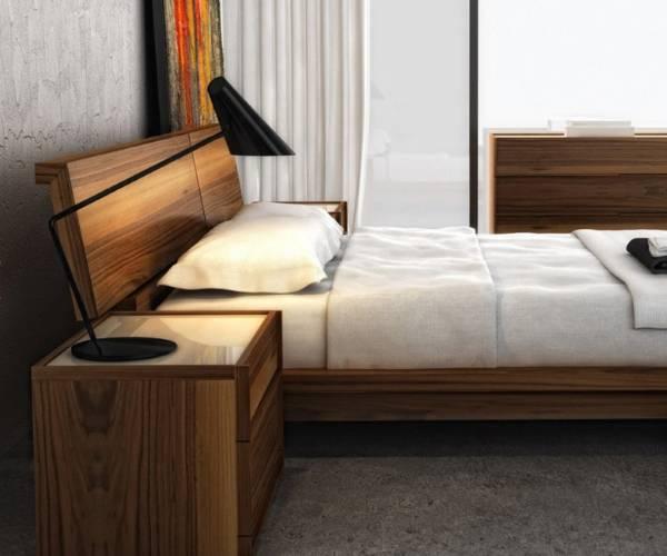 Модная кровать для спальни из дерева - фото в интерьере