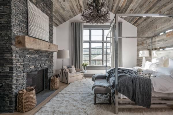 Модная спальня 2017 в стиле шале