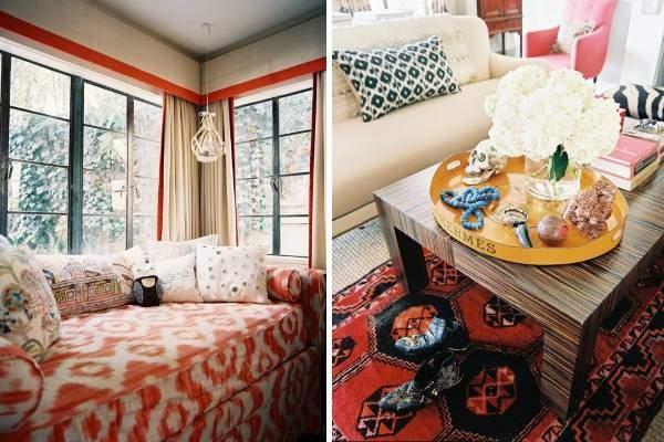 Модный оранжево-красный цвет в интерьере