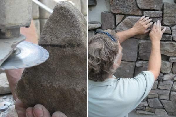 Облицовка фасада камнем - фото установки