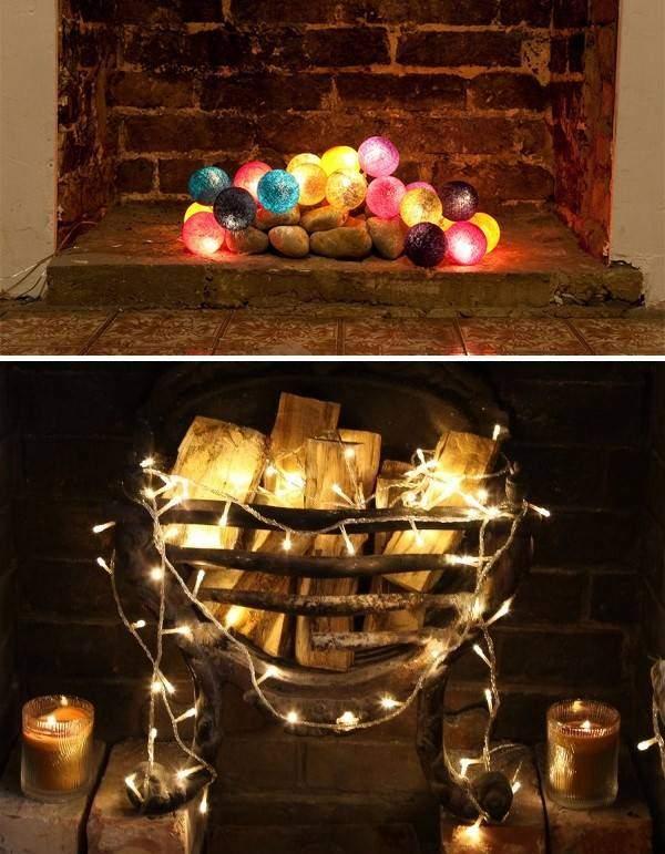 Светодиодная гирлянда шарики и обычная как декор камина